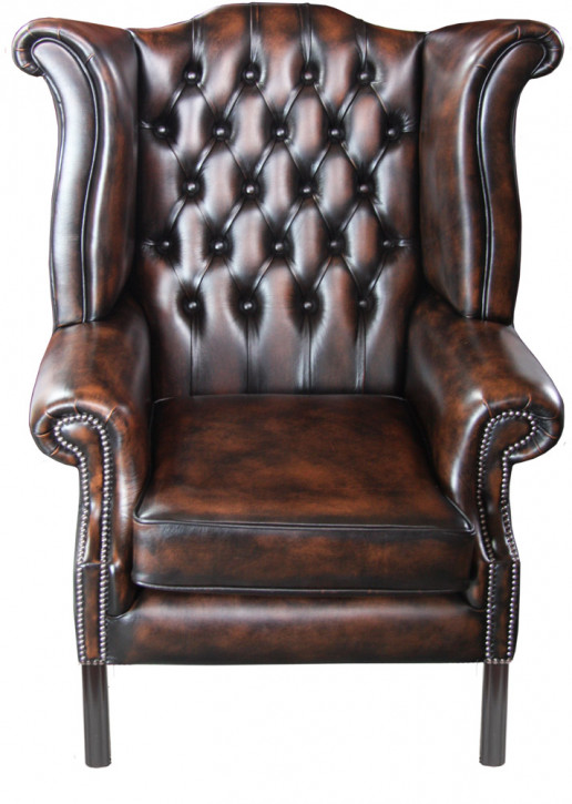 """Grand Scroll Wing Straight Chair"" Chesterfield Sessel"
