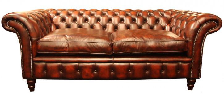 """Victorian Tub"" Original Chesterfield Sofa englisches Ledersofa 3-Sitzer"