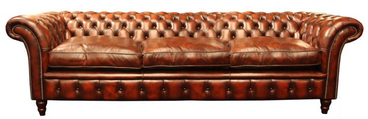 """Victorian Tub"" Chesterfield Sofa  4-Sitzer Anilinleder"