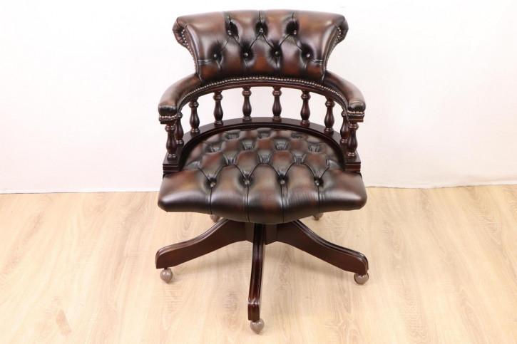 """Chesterfield Bürostuhl """"Captain's Open Armchair"""", braunes Leder"""