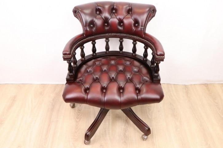 """Chesterfield Bürostuhl """"Captain's Open Armchair"""", rotbraunes Leder"""