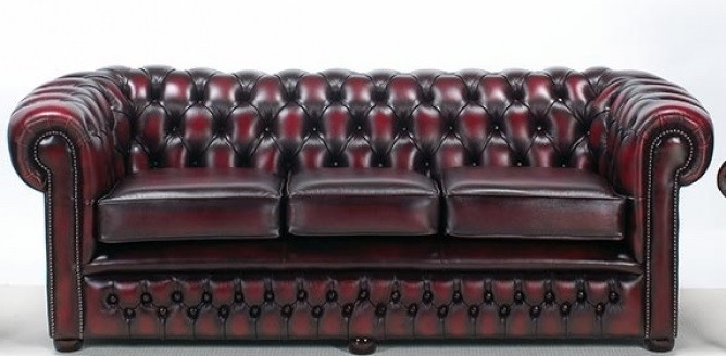 """London Classic"" oiginal englisches Chesterfield Sofa 3-Sitzer Anilinleder"