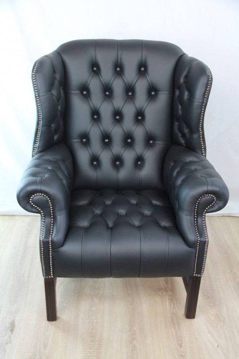 "Chesterfield Sessel ""Hawkins Wing Chair"" in Birch Black"