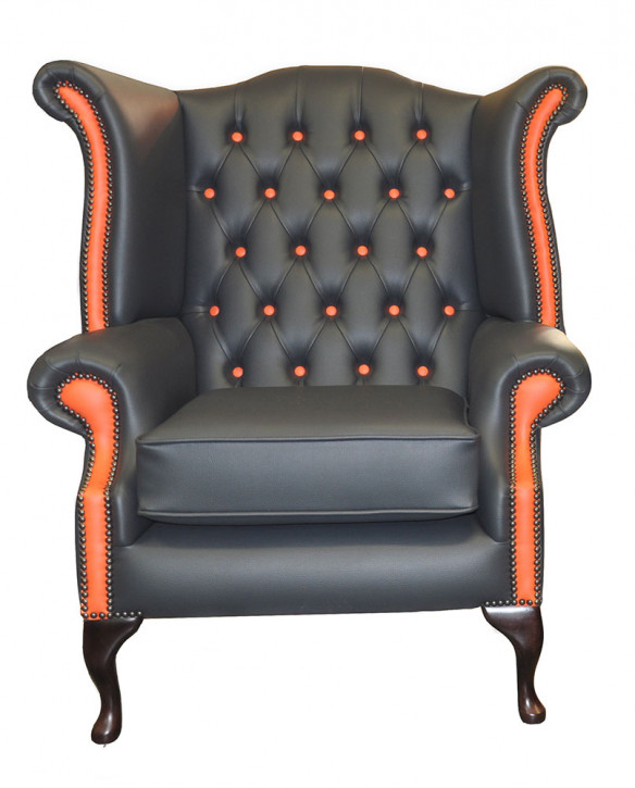 Chesterfield Scroll Wing Harlekin Sessel Ohrensessel