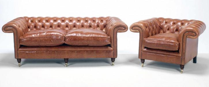 """Jedburgh"" Chesterfield Sofa 4-Sitzer original englisches Ledersofa"