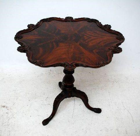 Antiker  Mahagoni Runder l Tripod Table