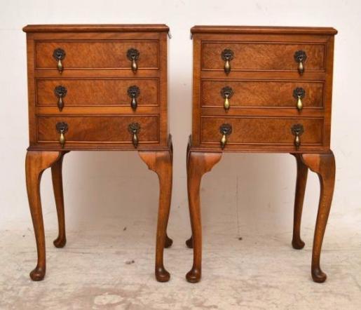 Antikes Paar Beistelltische kleine Tische Schlafzimmer Tische Mahagonitisch