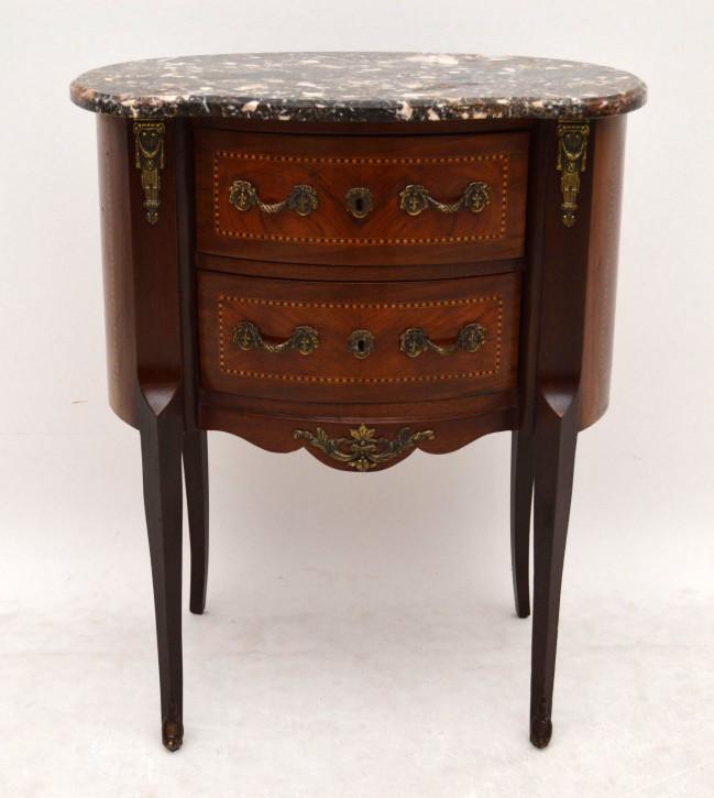 Paar antike campaign beistelltische for Holztisch mit marmorplatte