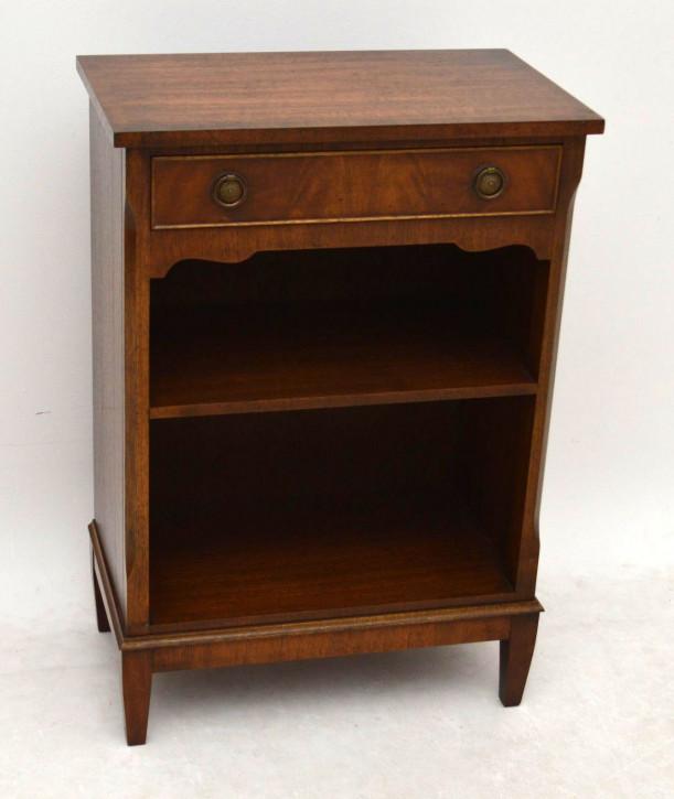 Antiker kleiner Beistelltisch 2 Etagen kleiner Holztisch mit Messinggriffen Mahagoni Tisch
