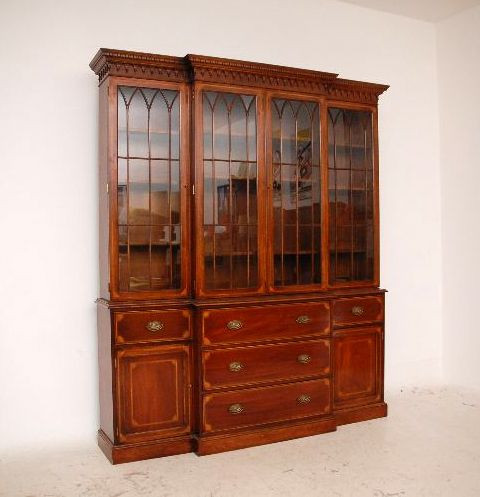 Großes  Breakfront Bookcase Antique   Conversion Intarsien Mahagoni