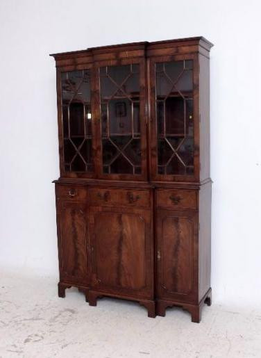 Antikes Breakfront Bookcase  Mahagoni