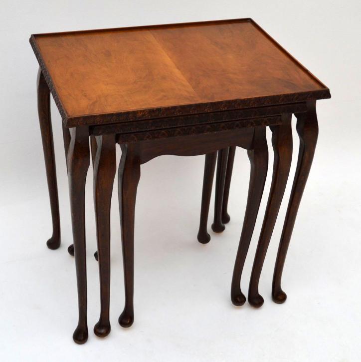 Antiker Queen Anne Style Nussbaum Nest 3er Tisch Set