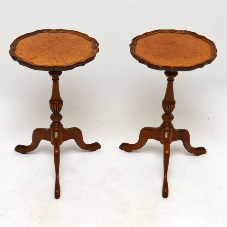 Pair of Antique Burr Walnut Wine Tables