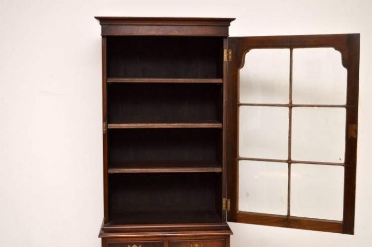 Schmales Bücherregal aus Mahagoni antik