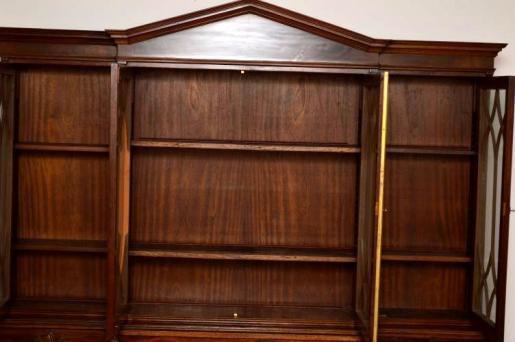 Mahagoni  Bücherschrank Bibliothek  Breakfront Bookcase mit Sekretär
