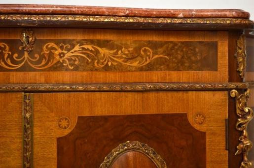 Antiik  French Style Marble Top Inlaid Kabinet Marmortop