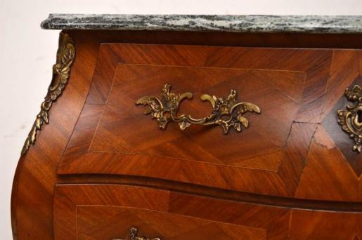 "Antiike  French Inlaid Marble Top ""Bombe Kommode"""
