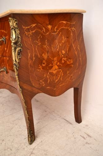 "Antikes  French Style Inlaid Marble Top Marmorplatte ""  Bombe Chest"""
