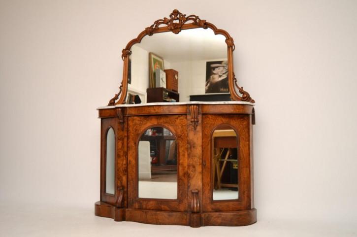 Antike Victorian Burr Nussbaum Beistellkommode