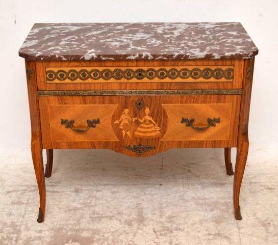 antike schwedische intarsien kommode mit marmor oberfl che. Black Bedroom Furniture Sets. Home Design Ideas