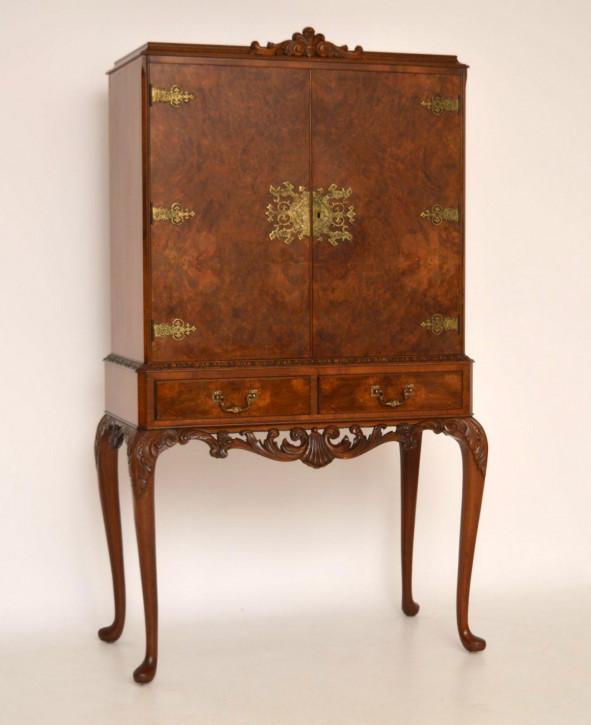 Antike Queen Anne Style Burr Walnut Cocktail Kabinett