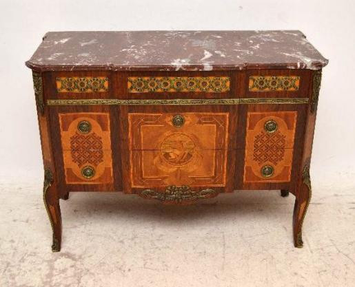 Antiike  French Style Inlaid Marmor  Top 3 Drawer Kommode