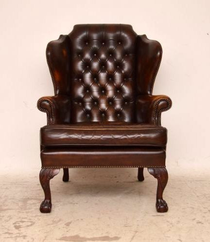 Antiiker Georgian Style Leather  Ohrensesesel  Armchair