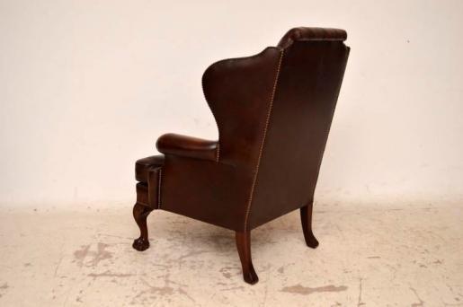 Antiiker Georgian Style Leather  Ohrensesesel  Armchair