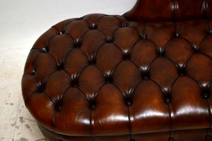 """Chaise Longue"" Antike viktorianische Ledercouch"