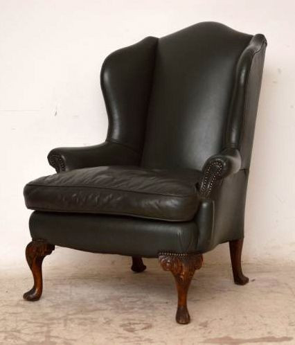 Antiker Wing Chair mit weichem Leder