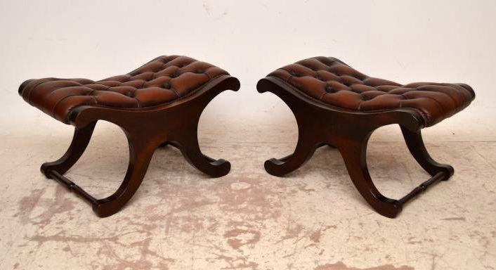 Antike Lederhocker Regency Stil