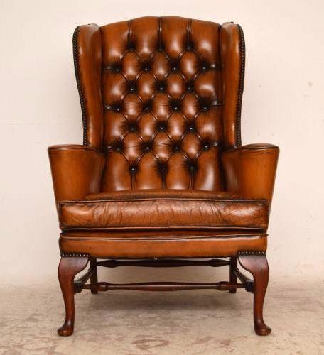 Paar Wing Chair Ledersessel antik