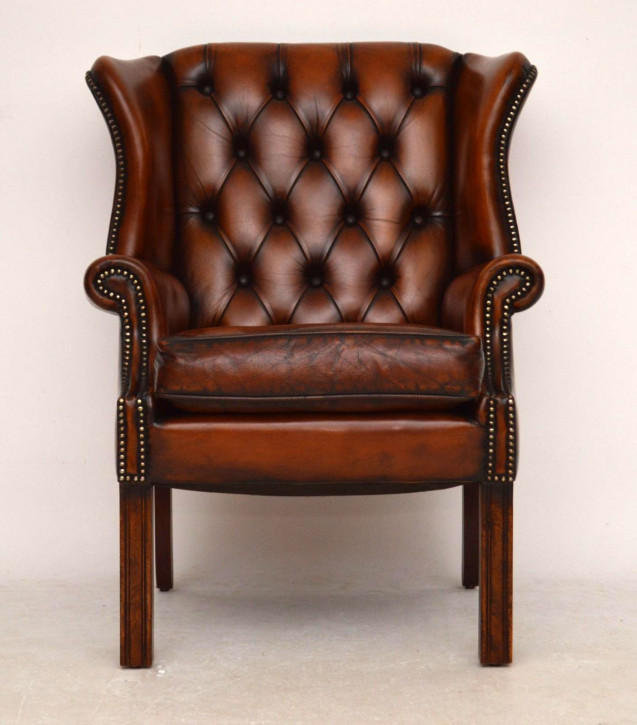 Antiker Geogian Wing Back Armchair Ohrensessel