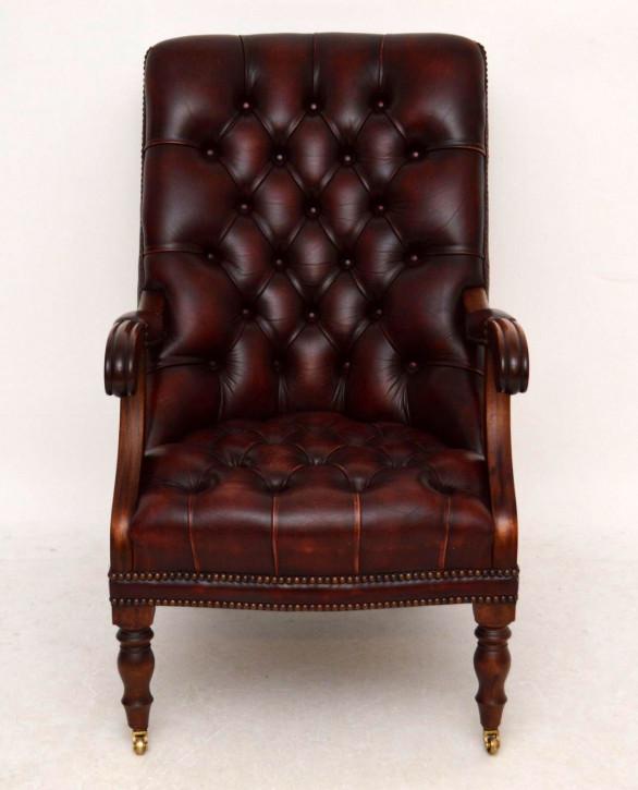 Antiker Regency-Stil tief geknöpfter Leder - Mahagoni Sessel