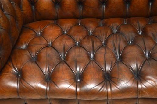 "Antikes  Victorianisches Leder "" Deep Buttoned"" Chesterfield Sofa"