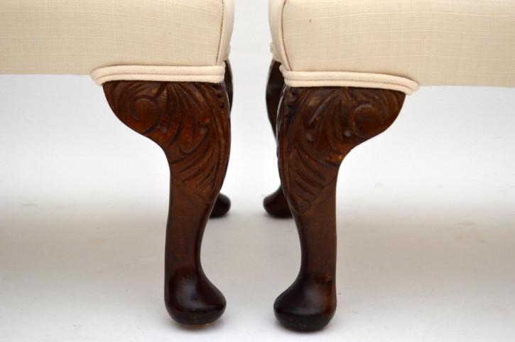 Antikes Paar Fußhocker Queen Ann