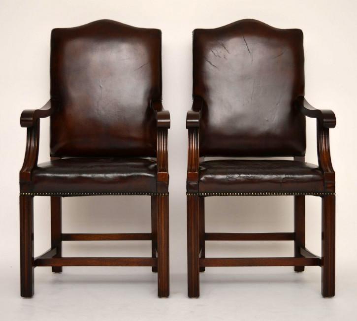Ein Paar antike Leder Mahagoni Gainsborough Sessel