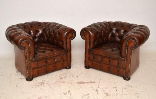 Schönes Paar antiker chesterfield windsor chairs