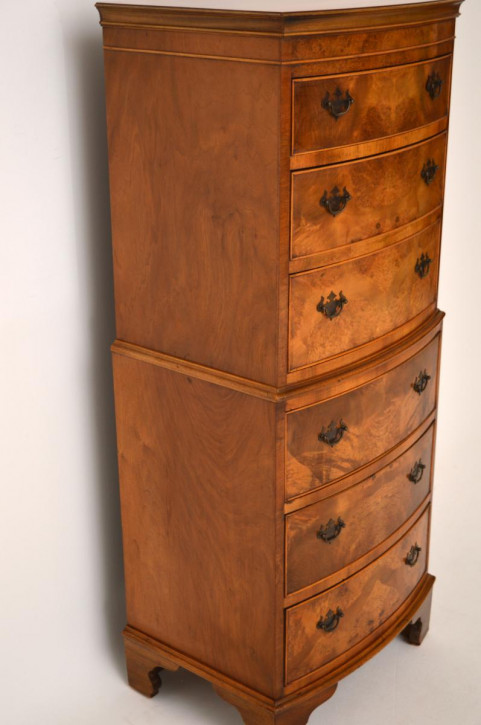 Antique Burr Walnut Brust auf Brust Tallboy
