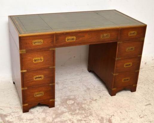 Antiker Schreibtisch Kampagne Stil Bürotisch Mahagoni Schreibtisch
