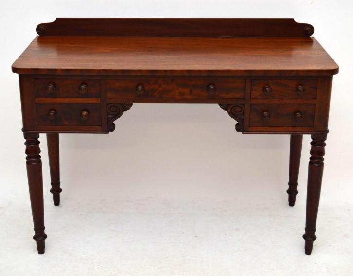 Antiker William IV Mahagoni Schreibtisch Bürotisch aus Holz Beistelltisch