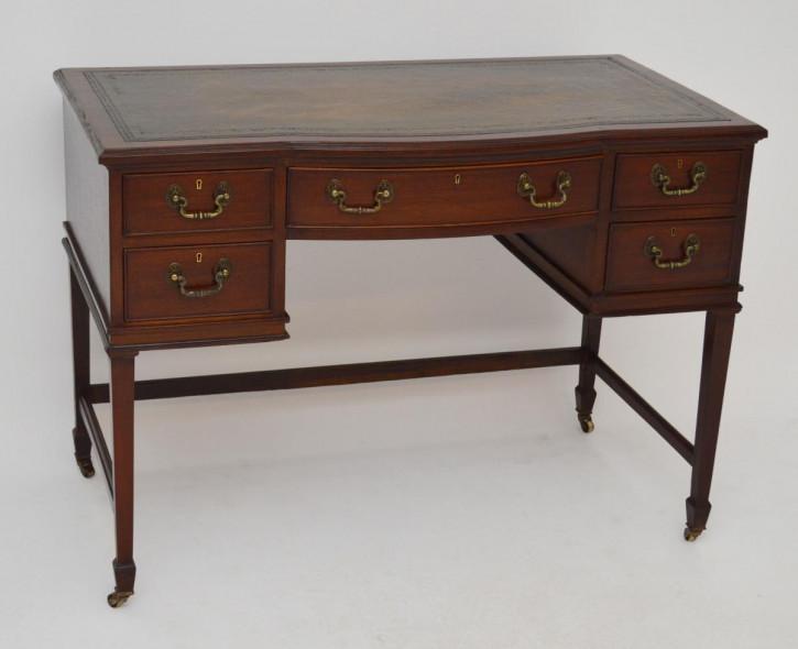 Antiker Mahagoni Schreibtisch mit Leder Schreibtischfläche Holzschreibtisch Bürotisch
