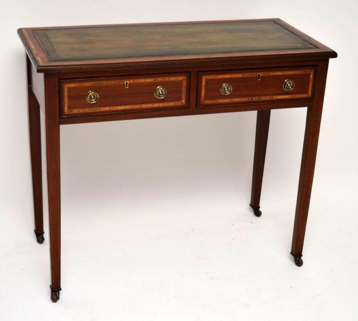 Antiker Edwardian Intarsien Mahagoni Schreibtisch