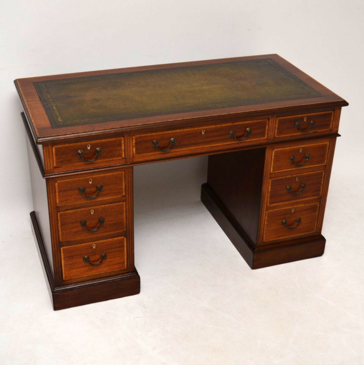 Antik Satinwood Intarsien Mahagoni Leder Top Schreibtisch