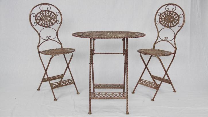Garten-Set für zwei mit Tisch und 2 Stühlen