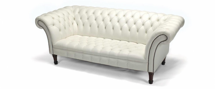 """Fort William"" Original Chesterfield Sofa Buttonseat 2-Sitzer Anilinleder"