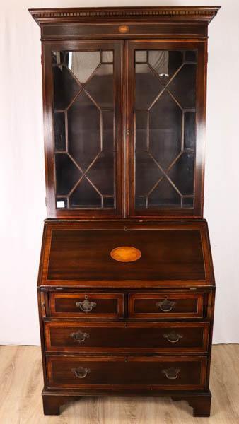 Antiker Mahagoni Aufsatzsekretär aus Massivholz, Bureau Bookcase mit Regency Verglasung