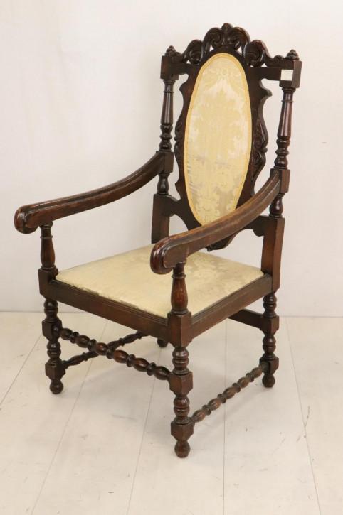Einzelner antiker Stuhl mit Armlehnen aus England, Mahagoni, ca. 1860