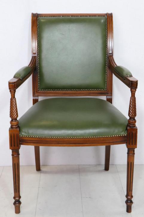 Einzelner englischer Stuhl mit Armlehnen, grünes Leder