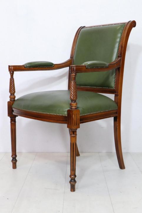 Englischer Armchair mit grünem Leder, viktorianischer Stil
